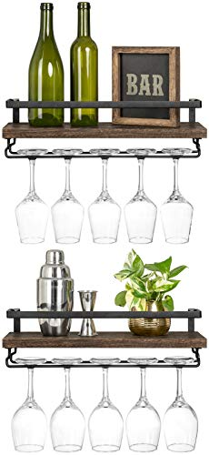 Mkono Wall Mounted Wine Shelves Set of 2 Wood Rustic Wine Bottle Glass Floating Racks with Stemware Hanger Modern Plants Photos Wine Display Storage Holder for Kitchen Dining Room Bar 17 Inch