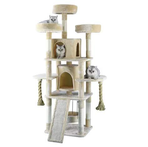 """Mix.Home Jungle Rope Cat Tree House with Sisal Covered Scratchers, 71"""" H. Best Choice for Your Pets. Kitty Posts. Cat's Stands. Best Cat Bed & Trees & Condos. Pet's Playground."""