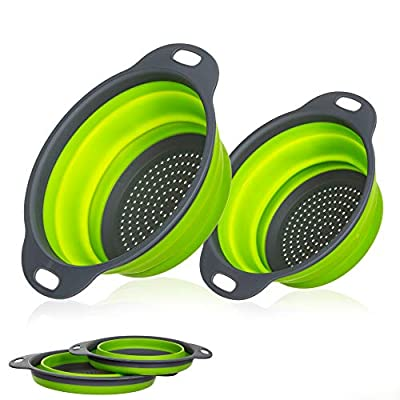 Miswaki Collapsible Colanders with Handles (2 Pc. Set) Round Kitchen Sink Strainers | Heat-Resistant Silicone | Stackable, Space-Saving Design | Pasta, Vegetables, Hot Water