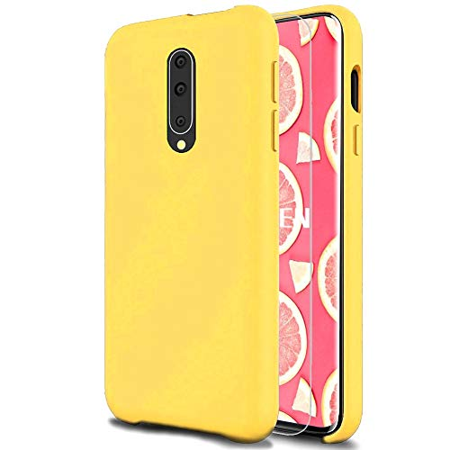 Fatcatparadise Case for OnePlus 7 Pro [with Free Tempered Screen Protector] Liquid Silicone Gel Rubber Soft Touch Cover Full Protective Case (Yellow) Colorado