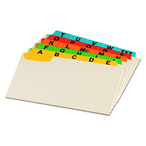 """Oxford Index Card Guides with Laminated Tabs, Alphabetical, A-Z, Assorted Colors, 3"""" x 5"""" Size, 25 Guides per Set (3514)"""