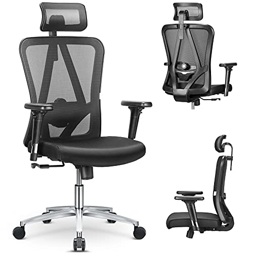 MFAVOUR Silla de oficina de escritorio, silla de ordenador ergonómica, apoyacabeza/reposabrazos ajustables, soporte lumbar, mejor protección de la columna, para personas sentadas, 150 kg, negro