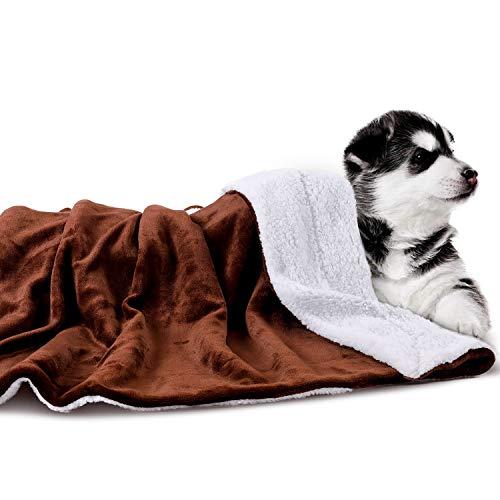 HAPPY HACHI Mantas para Perros 150x127cm, Cama Reversible Franela y Sherpa para Gato Mascotas Lavable Suave Sofá Colchoneta para Sillas Coche Camping