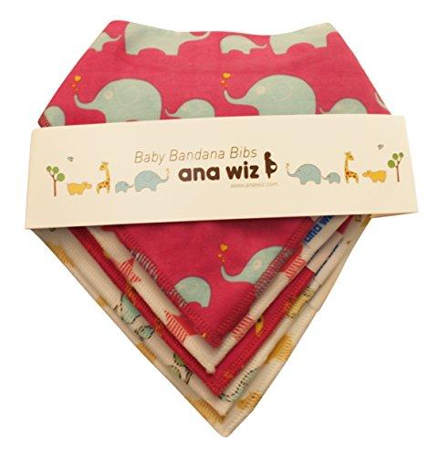 Bandana babero para bebé, 100% algodón orgánico, juego de 5 diseños exclusivos (para niña)