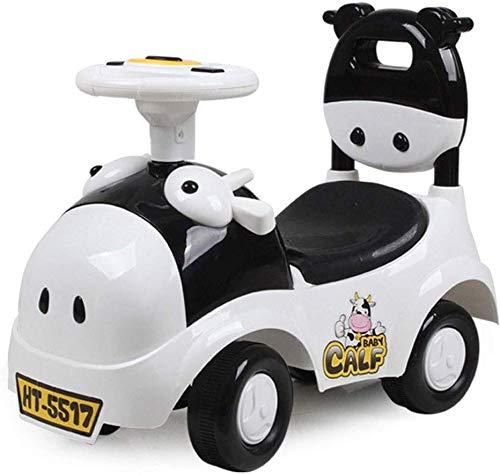 XIN Kinderwagen Kinderwagen Kleinkind Kind Auto 1-3 Jahre alt Jo-Jo Kind Vierrädriges Spielzeugauto Baby Roller Cow Push Cart Meng Bao Alter Geschenk Ladung 45Kg,Schwarz,55 * 26 * 45cm