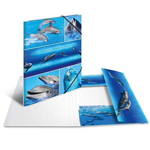 HERMA 19213 Sammelmappe DIN A4 Tiere Delfine aus stabilem Karton mit bedruckten Innenklappen, Gummizugmappe, Eckspanner-Mappe, 1 Zeichenmappe für Kinder