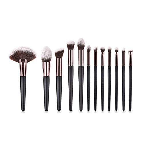 12Pcs / Set Pinceaux De Maquillage Set Cache-Cernes Fond De Teint Poudre Applicateur De Fard À Paupières (Noir)