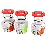 sourcingmap 3pcs Pulsador interruptor AUTO-bloqueo tipo Seta de parada de emergencia ROJO AC 600V 10A
