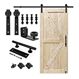 S&Z TOPHAND 36 in. x 84 in. Unfinished British Brace Knotty Barn Door with 6.6FT Sliding Door Hardware Kit/Solid Wood/Sliding Door/Double Surfaces/A Simple Assembly is Required (36, Door+J Shape)