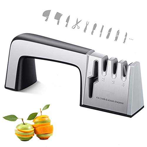 Knife Sharpener  4 in 1 Sharpener Kitchen Knife and Scissor Sharpening Tool with Diamond Tungsten Steel Ceramic Stone NonSlip Base Professional Blades Sharpening Tools