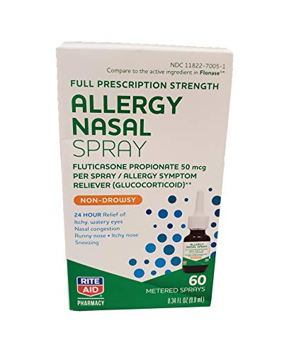Rite Aid Allergy Relief Fluticasone Propionate Nasal Spray, 50mcg - 60 Metered Sprays | Nasal Decongestant Allergy Spray | Saline Nasal Spray Adult | Natural Allergy Relief