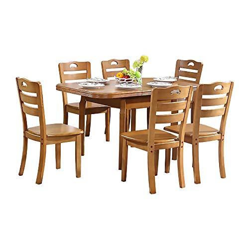 Mesa de Comedor, Juego de Mesa y Silla de Comedor de Madera Maciza, Juego de 5 Mesa de Comedor retráctil Muebles de Cocina 1 Mesa + 4 sillas 121.5x83.5x75cm,Wood