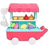 Kinder Simulation Trolley Spielzeug, Baby Pretend Play Obst Warenkorb Spielzeug Kunststoff Musik Und Licht Trolley Toy Kit Spielhaus,Rosa