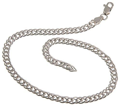 Fußkette Silber (Zwillingspanzer) - Breite 4,5mm - Länge 28cm - echt 925 Silber