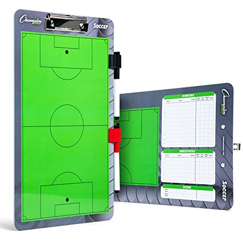 Champion Sports Dry Erase Clipboard for Coaching Soccer - Whiteboards for Strategizing, Techniques, Plays - 2-Sided Clipboards with Clip - Front Side Full Field - Backside Half Field Close-up