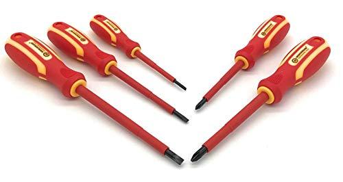 Werckmann | - 5 destornilladores electricista VDE | aislados 1000 V | ergonómico | Tratamiento magnético | plana: 3 x 75 mm, 4 x 100 mm, 5.5 x 125 mm | para tornillos: PH1 x 180 mm, PH2 X 100 MM
