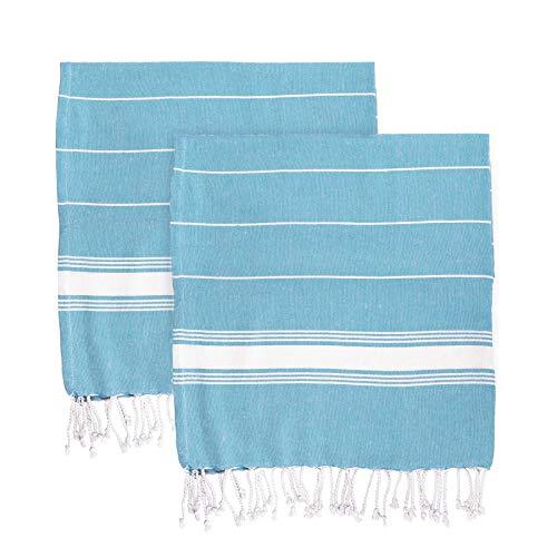Nicola Spring Serviettes de Plage Turques - Coton - 170 x 90 cm - Bleu - Lot de 2