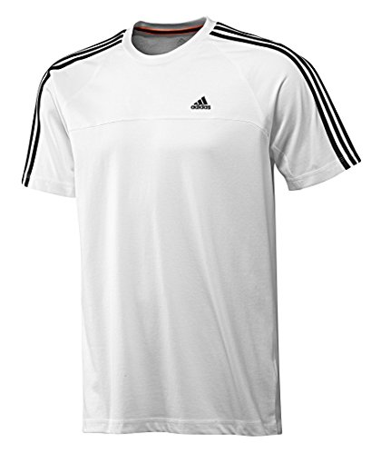 adidas T-Shirt Gr. 40 / M Weiss ESS 3S Climalite Sportshirt Funktionsshirt Baumwolle