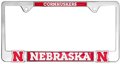 Premium All Metal NCAA Mascot License Plate Frame w/Dual 3D Logos (Nebraska)