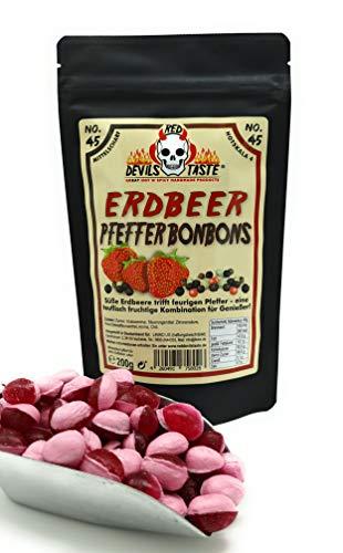 Erdbeer - Pfeffer Bonbons - 200g - Hotskala: 4 (mittelscharf) im ZIP Beutel - irrer Geschmack