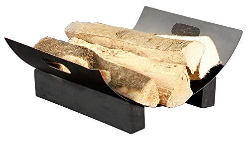 Carlo Milano Kaminholzkorb: Metall-Holzkorb für dekorative Brennholz-Lagerung (Kaminholzregal)