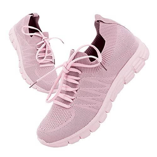 Possidonia Zapatillas Casual Tipo Calcetín para Mujer con Cordones, Transpirables Outdoor Ligero Sneakers   Tallaje Ancho 36-41EU (Rosa, Numeric_39)