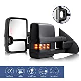 Towing Mirrors fit for 2014-2018 Chevy GMC 1500 2015-2019 Chevy GMC 2500 HD 3500 HD with Power Adjusted Glass Heated LED Arrow Turn Signal Light Backup Lamp Extendable Pair Set