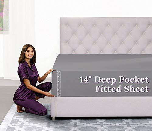 """Fitted Sheet Queen Size – Queen Fitted Sheet Only – [14"""" Deep] Pocket Fitted Sheets Best Fit for 12"""" – 16"""" Mattresses – Soft and Comfy Fabric – Easy Care Deep Pocket Queen Fitted Sheet – Medium Gray"""