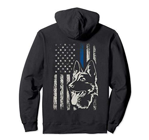 Patriotic German Shepherd K9 Unit Thin Blue Line Police Gift Pullover Hoodie