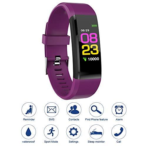 Mostra 115plus Fitness Tracker intelligente Colore del braccialetto Bluetooth orologio sportivo frequenza cardiaca di pressione / sanguigna Monitor Pedometro Passo Calorie Counter Viola AC1423 Necessi