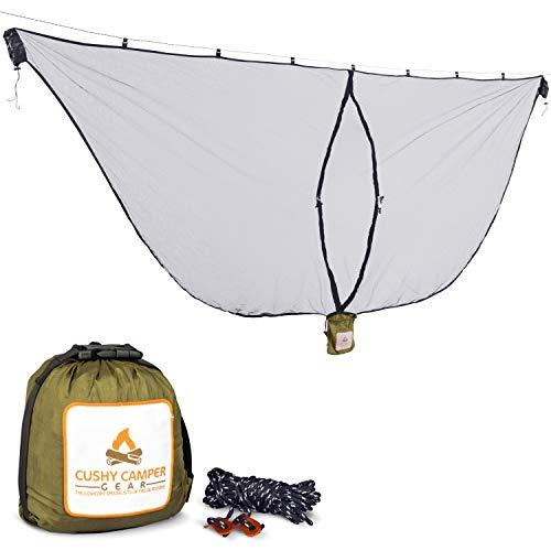 Cushy Camper Premium Hammock Mosquito Net - Portable Backpacking Protection - 11ftx4ft10 Hammock Bug Net Keeps Out Mosquitoes and Keeps You Cool - Mosquito Net for Hammock - Ultralight Camping Shelter