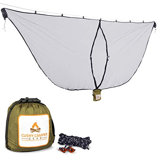 Cushy Camper Premium Hammock Mosquito Net - Portable Backpacking Protection - Large Hammock Bug Net...