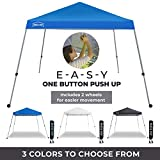 PORTA-POP One Button Easy Pop Up 10x10 ft Portable Folding Canopy Slant Leg with 2 Wheels and Deluxe Carry Bag, Blue