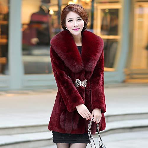 YRFDM Warmer Mantelm, Mantel Winter Damen Oberbekleidung Mäntel Kragen Lady Overcoat Allgleiches warmes Sakko, rot, XXL