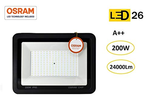 Foco LED exterior 200W OSRAM alto brillo Proyector LED exterior impermeable IP65 Luz Blanco frío 6500K patio, jardín, tienda