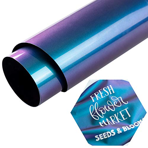 Eygoo Chameleon Heat Transfer Vinyl 12Inch x 5Feet Rolls,Iron On Vinyl for Cricut and Silhouette Cameo,Easy to Cut & Weed Htv Vinyl Rolls,PU Heat Transfer Vinyl for T-Shirts (Gradient Purple)