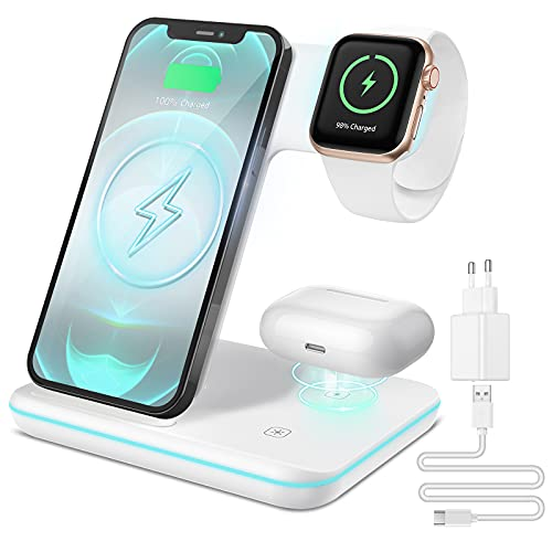 CAVN 3 in 1 Kabelloses Ladegerät, Wireless Charger Kompatibel mit iPhone 12/11 Pro Max Mini/XS/XR/X/8+, iWatch 6/SE/5/4/3/2, AirPods Pro/2, Galaxy S21/S20/S10+, Induktive Ladestation mit QC3.0 Adapter