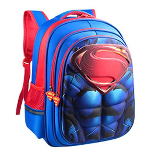 Kids Superman 3D stereo Water-Resistant Oxford Backpack for Boys Elementary School Bags Durable Bookbags L