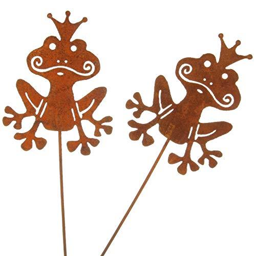 MACOSA Gartenstecker Frosch 2er Set Rost 30x12x10 cm Rostig Echtrost Beetstecker Garten-Dekoration rostige Tierfigur Dekofigur Edelrost Gartendeko filigran Blumenstecker