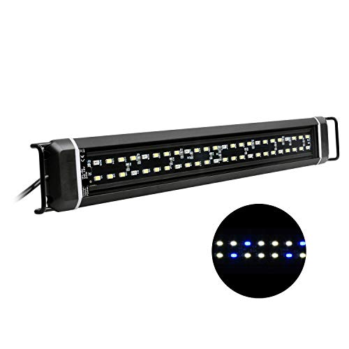 NICREW Luz LED Acuario, Bombilla LED Impermeable para Acuarios de Agua Dulce, LED Blanco y Azul, Lámpara LED para Acuarios 45-61 cm, 16 W