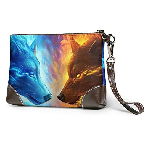Handtasche im Boho-Stil, Mandala-Figuren, festlich, tragbar, weiches Echtleder, Clutch, klein, klassische Tasche, große Geldbörse Violett Feuer und Eis Wolf Einheitsgröße
