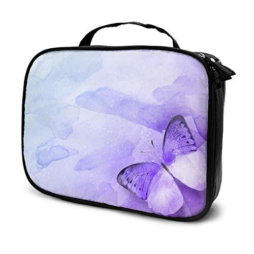 LOKIDVE Women's Purple Butterfly Cosmetic Bag Travel Makeup Case Portable Beauty Toiletry Organizer