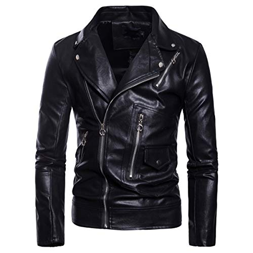 AOWOFS Men's Motorcycle Jacket Faux Leather Lapel Bomber Punk Slim Coat Black