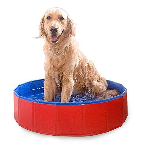 Blusea Faltbarer Haustierbadewannenpool Faltbarer Haustierbadewannenpool für Hunde Katzen (80X30cm)