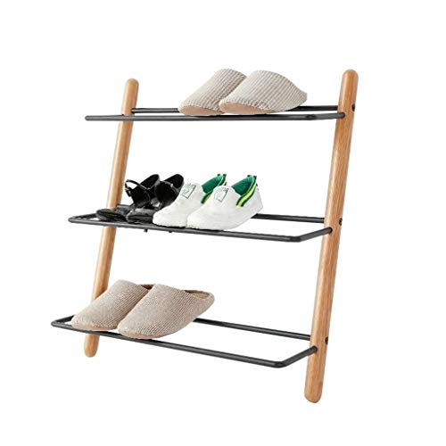 Rack de zapatos Estilo de escalera de 3 niveles Estilo de madera maciza Bastidores de zapatos de hierro Múltiples pisos Pasillo de pie Dormitorio escalonado Zapato Mostrar estantes - L60 × W15.6 × H66