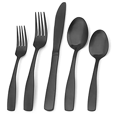 Matte Black Silverware Set, Bysta 20-Piece Stainless Steel Flatware Set, Kitchen Utensil Set Service for 4, Tableware Cutlery Set for Home and Restaurant, Satin Finish, Dishwasher Safe