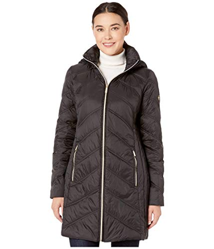 MICHAEL Michael Kors 3/4 Packable Jacket with Chevron Quilt M824168TZ Black LG