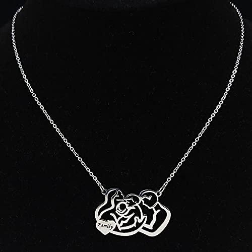 ciondolo collana Famiglia papà mamma e due bambini collana a catena in acciaio inossidabile collana donna colore dichiarazione ciondolo gioielli Regalo di San Valentino compleanno anniversario