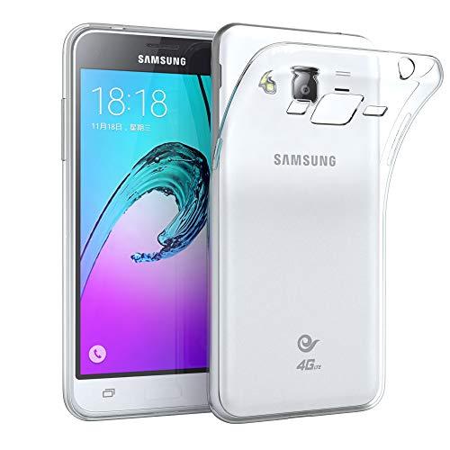 EAZY CASE Hülle kompatibel mit Samsung Galaxy J3 (2016) Schutzhülle Silikon, Ultra dünn, Slimcover, Handyhülle, Silikonhülle, Backcover, Durchsichtig, Klar Transparent