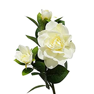 Honghong 3-Heads Artificial Gardenia Flower Bouquet Decoration Flowers (Milk White)